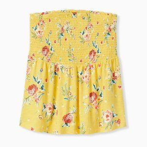 YELLOW FLORAL SLUB JERSEY STRAPLESS BABYDOLL TOP